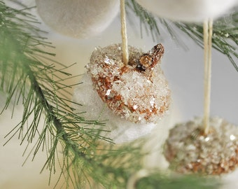 Set of 5 icy german glass glittered hanging acorn Christmas ornaments