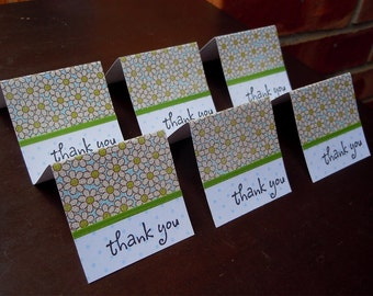 White and Green Flowered Mini Thank You Cards 2x2 (6)