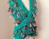 sale Scarf Wrap  Hand Spun Hand Knit  cyan aqua green merino and silk