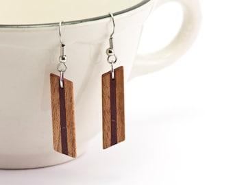 Wooden Earrings, Wood Earrings, Mahogany, Purpleheart, Pendant Earrings, Wood Dangle Earrings, Stainless Steel Findings 5th Anniversary Gift