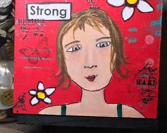 Original art Mixed Media Painting - Strong - Girl Power