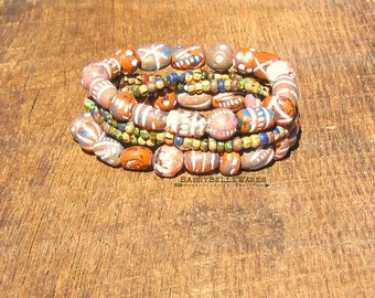 Rustic Boho Bracelet Stack festival ready gypsy chic fashion style earth tones distressed aged stacking stackable stretch