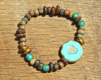 Rustic Love - Turquoise Heart and Czech Glass Bracelet romantic romance country boho chic brown earth tones distressed Valentine's Day