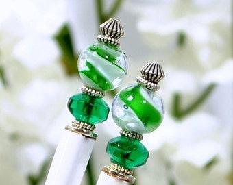 "Green Hairsticks 4 inch Hair Sticks Wood Hair Pins Chinese Bun Pins - ""Everything"""