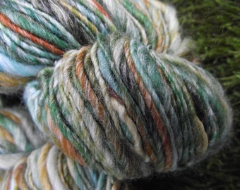 Handspun yarn, handpainted wool Merino wool and bamboo yarn, Euphrosyne