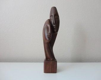 VINTAGE mid century faux bois ceramic MAN WOMAN figurine