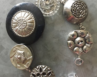 Vintage Silver Button Bracelet