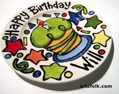 """CUSTOM Large 10"""" Birthday Cake Plate Personalized colorful happy ceramic cupcake candles and fun"""