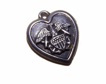Vintage STERLING SILVER Puffy Heart Charm - Navy (Eagle with Anchors)