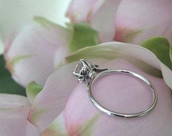 Summer Sale Lush Lotus Diamond Engagement Ring, 14k White Gold, Ready to Ship