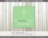 Christening Return Address Labels : Baptism Return Address Labels - Religious Theme Return Address Label - Square Label - R102