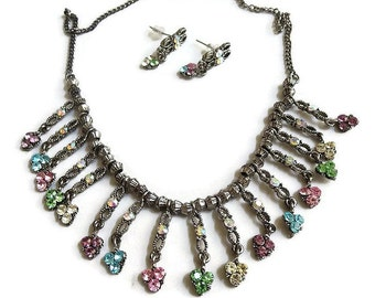 Multi Colored Rhinestones and Aurora Borealis Vintage Dangle Bib Necklace and Earrings Set