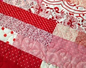 "Baby Size Quilt, Crib Quilt, Red, white, and pink baby quilt, lap quilt, 34x43"", nursery quilt, machine quilted, toddler quilt"