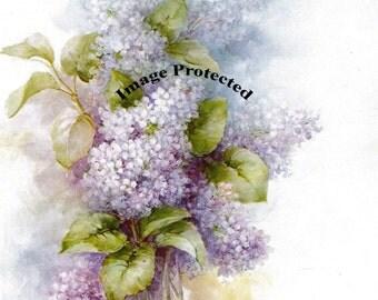 French Spring Lilacs, Art Print, Shabby Chic Decor