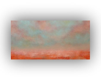 Blue and Orange Abstract Landscape- 12 x 24 Fall Sky Clouds and Field Oil Painting- Original Palette Knife Art on Canvas