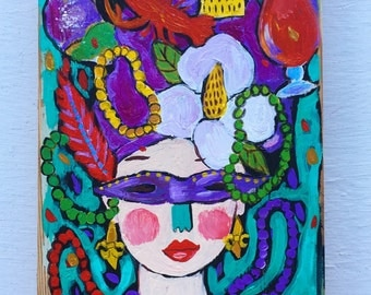 New Orleans Folk Art Painting Mardi Gras