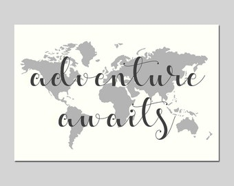 Adventure Awaits Map WORLD MAP CANVAS - Travel Home Decor Canvas Art Print - Nursery Canvas - Choose Your Size and Colors