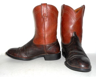 Mens 8.5 Cowboy Boots Roper Ariat Two Tone Brown Western Indie Folk Womens 10