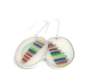 That Much Earrings #3 ooak multicolor resin sterling silver