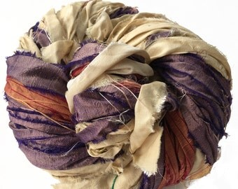Sari Silk Ribbon, Reclaimed, Recycled, Fair Trade, Skein no. 313, 85 yds.