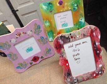 Painted Frame, Dorm Room, Shabby Chic Picture Frame, Gift for Couple, BFF Gift, Painted Picture Frame, Photo Frame, Teen Girl Room Decor