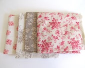 Four Fat Quarters Sewing Supply Craft Project Red Taupe Beige Natural Colors