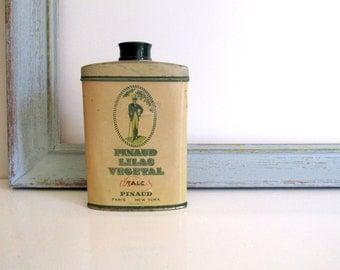 Vintage Pinaud Lilac Vegetal Talc Tin Barbershop Memoribilia