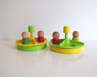 Vintage Fisher Price Merry Go Round Little People Wood Peg Figures