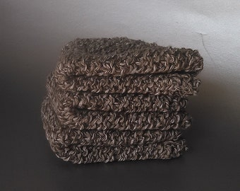 100% COTTON DISHCLOTHS. Coffee Colored.