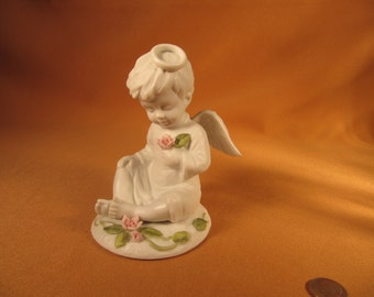 ANGEL BOY STATUE, 4 Inch tall Touch of Rose by Roman 1986, Small White Porcelain like statue of little Angel Boy, White small sitting Angel