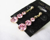 SWAROVSKI ROSE CRYSTAL Graduated Crystals in 14K Gold Filled Settings Dangle Stud Earrings GiFT Under 20