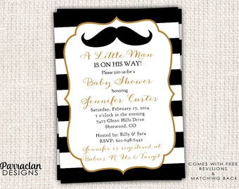 Little Man Baby Shower Invitation, Mustache Baby Shower Invitation, printable, digital file, BS15