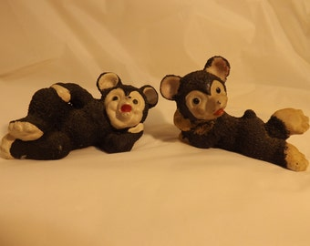 FREE SHIPPING vintage mice figurines Japan in red sugared mouse textured salt glazed (Vault 17)