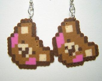 pixel bear perler dangle earrings