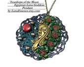 Egyptian Luna Goddess Pendant   Pearl Pendant  Top Selling Jewelry  Most Popular Jewelry Goddess Mother of Pearl  Flowers