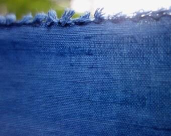 "Indigo Dyed Linen Cotton Fabric Medium Dark Blue Natural Plant Dye Art Fabric 28""x 36"" Hand Dyed Fabric One Piece Indigo Linen Blend Fabric"