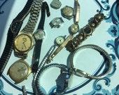 Repurpose salvage Watch Bulova Seiko Beaded Cluster Gold tone Rhinestone Watch Elgin Bearring lot destash harvest