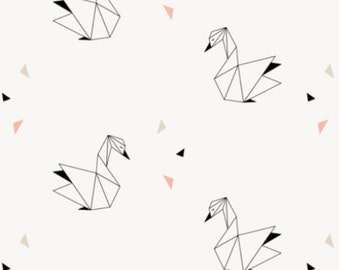 Origami Swan Fabric - Swans designed by Kimsa - Hipster Geometric Origami Swan Cotton fabric by the yard with Spoonflower