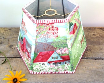 """Farm Uno Lamp Shade, Lampshade in Vintage Bark Cloth Country Style for Threaded Shade for Standing Bridge Lamp 7""""x12""""x8"""" High - Hard to find"""