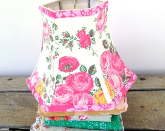 """Pink Lamp Shade Floral Lampshade in Vintage French Fabric, 5""""x10""""x7.5"""" Hex Bell - Pretty in Pink!"""
