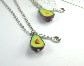 Friendship Necklace (2pcs) - Food jewelry food necklace PBJ necklace, friendship gift, best friend necklace avocado, best friend gift