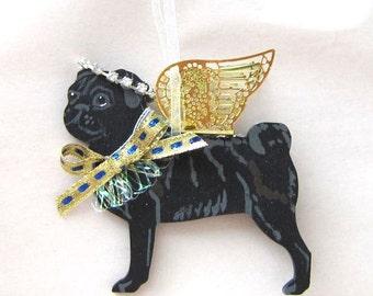 Hand-Painted PUG BLACK Metal Wing Angel Wood Christmas Ornament.....Artist Original