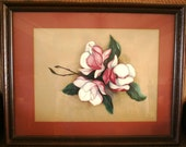 Original 26 x 20 Pink & White MAGNOLIA BLOSSOM Watercolor Painting