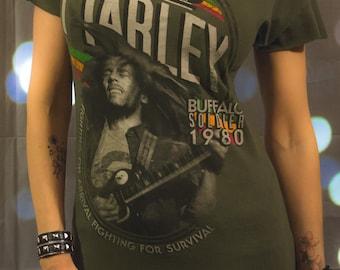 Bob Marley Reggae Reconstructed Slashed Tunic T-Shirt