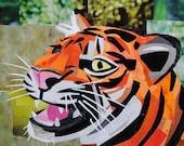 I Am Tiger, Hear Me Roar, 5x7 inch ORIGINAL COLLAGE ART