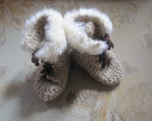 Unisex Beige High Top Baby Uggs Style  Booties Faux Fur Trim 0- 6 mo, 6- 12 mo.