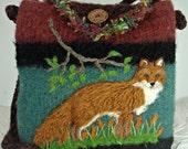 Mothers Day Sale Felted purse, felted handbag, red fox, fox art, fox purse