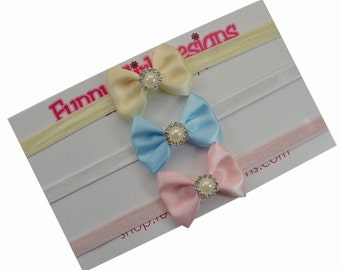 Mini Satin Bows with Jeweled Pearl Baby Headband Gift Set - Includes 3 headbands