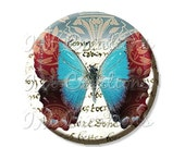 """50% OFF - Pocket Mirror, Magnet or Pinback Button - Wedding Favors, Party themes - 2.25""""- Noble Butterfly MR192"""