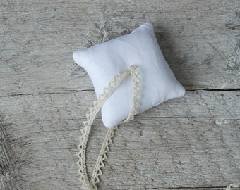 Baby Size Linen Ring Bearer Pillow - 3 x 3 inches